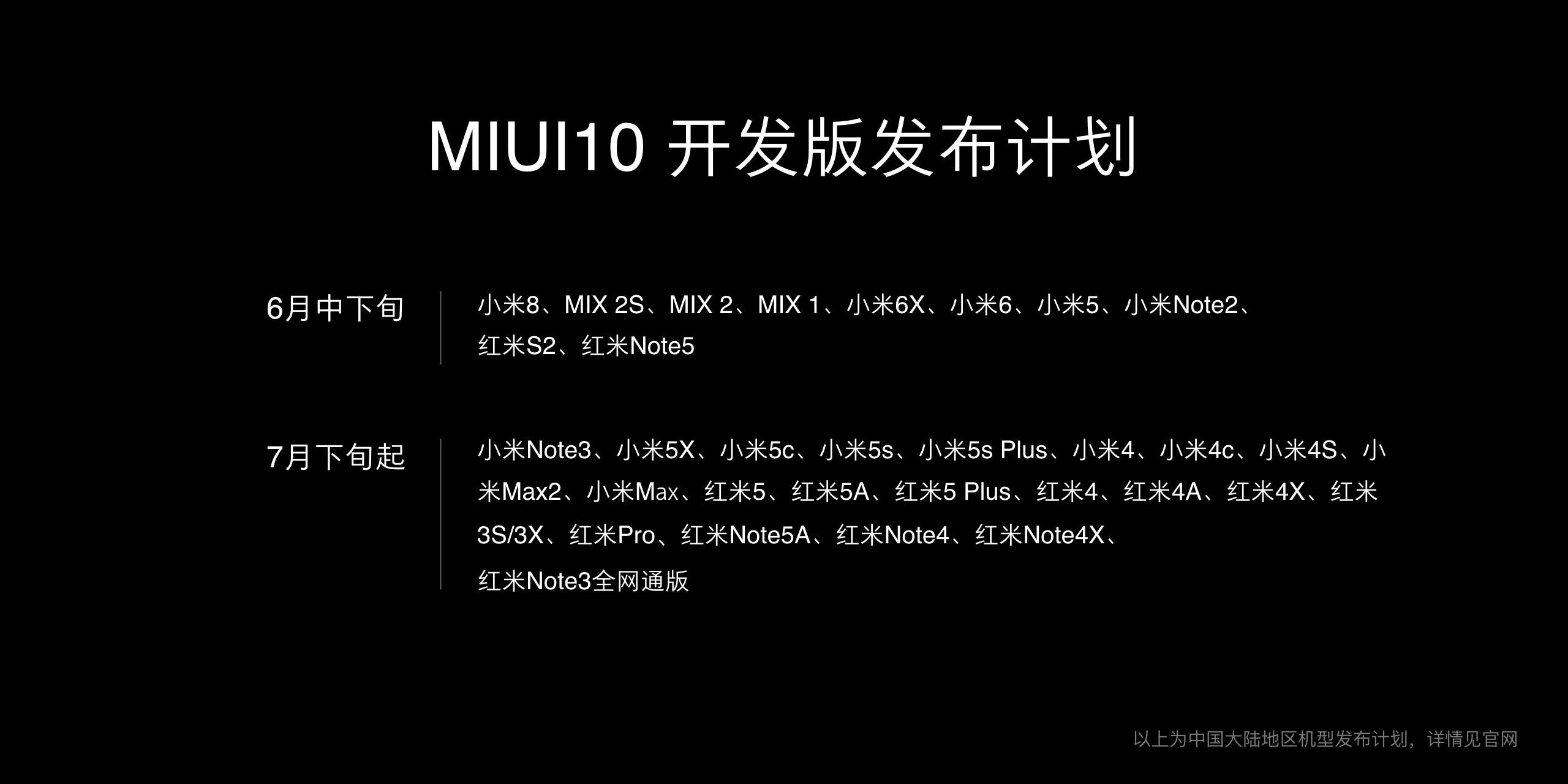 MIUI 10发布计划